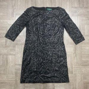 Lauren By Ralph Lauren Balck Sequine Dress